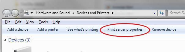 Open printserver properties