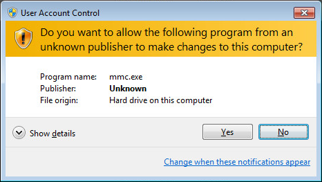 UAC Message: builtin executables could not verified.