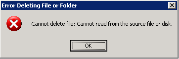 Error message: Cannot read from source file or disk