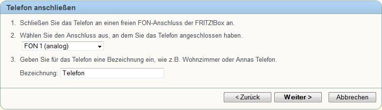 Anschluß an der Fritzbox auswählen