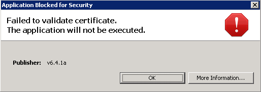 Failed to validate certificate. The application will not be executed