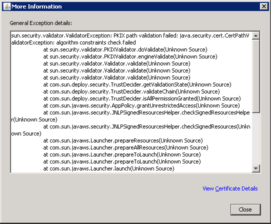 Java Error: Failed to validate certificate. The application will not ...