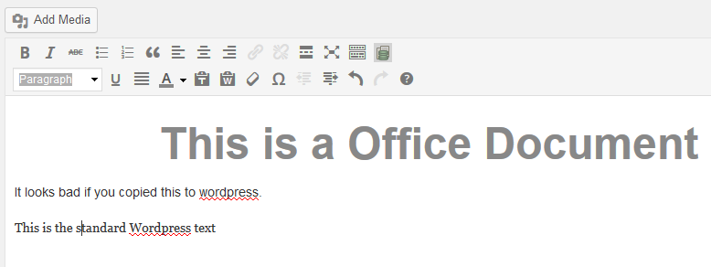 Formatted Office text in wordpress