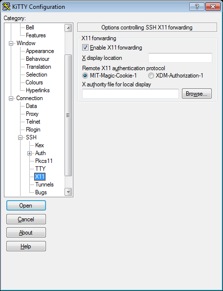 PuTTY enable X11 forwarding