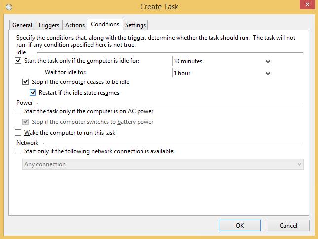Create Task Action Tab