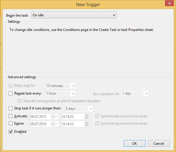 Create Task Trigger Tab