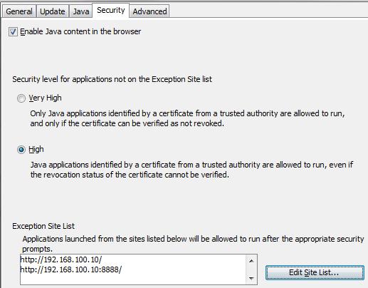 Java Site Exception List