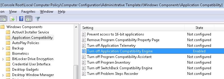 GPO Editor application compatibility engine