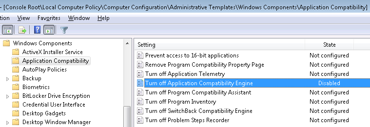 Enable application compatibility engine