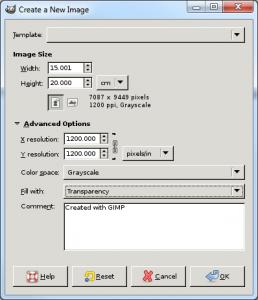 GIMP New Image Dialog
