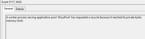 Eventlog WSUS Apppool Error