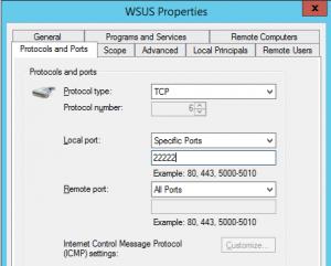 WSUS Firewall rule http