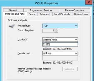 WSUS Firewall rule https