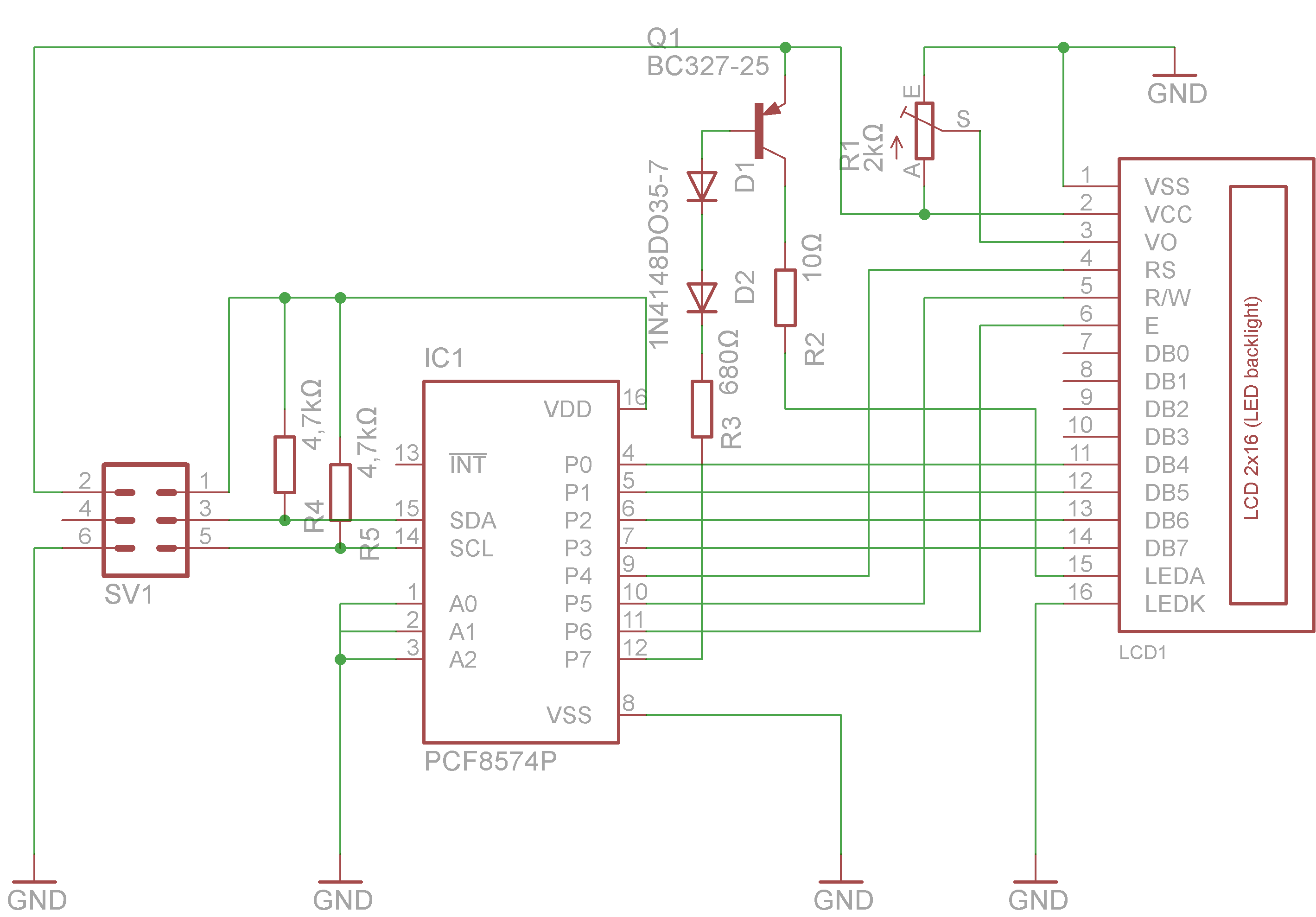 Connecting A Hd44780 Display To Raspberry Pimichls Tech Blog Pi Model B Circuit Diagram Over I2c Bus