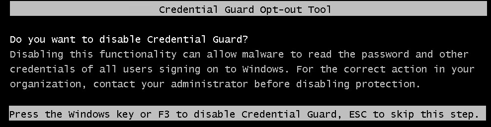 Windows: Disable Credential- ,Device Guard and