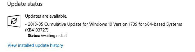 Windows 10: Windows Update search returns Error