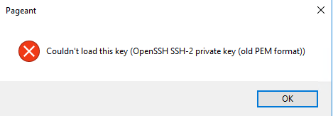 openssh key inport error